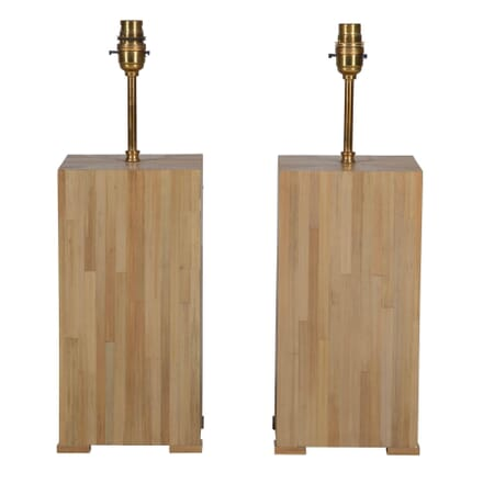 Pair of Straw Marquetry Lamps LT015299