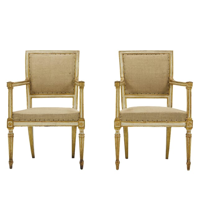 Pair of 18th Century Italian Painted & Gilt Armchairs CH0662263