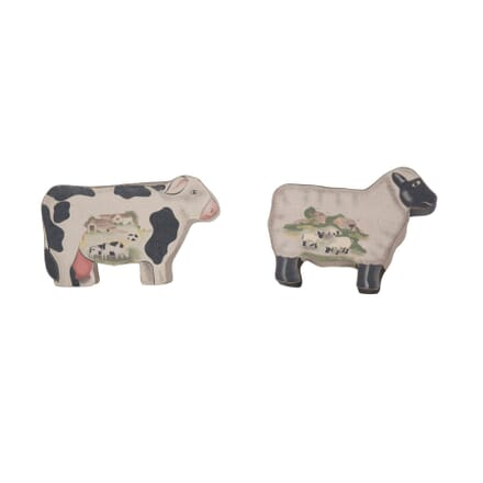 Pair of Farmyard Painted Boxes DA2056625