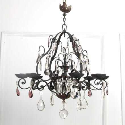 French Iron and Crystal Chandelier LC1561855