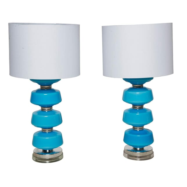 Pair of Blue Murano Glass Lamps LT4058216
