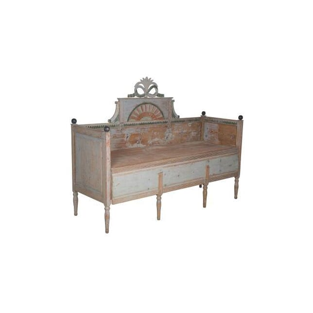 Original Painted Gustavian Bench/Pull Out Bed SB012378