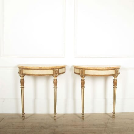 Pair of Italian marble top console tables CO457608