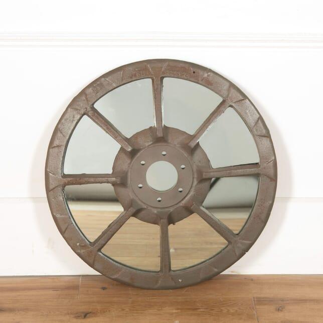 Vintage Tractor Wheel Faceted Mirror MI998908